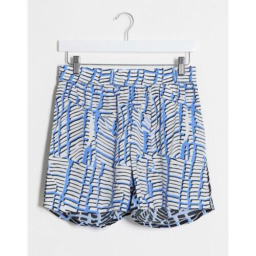 Noisy May – Blaue Shorts mit zweigeteiltem Print, Kombiteil-Weiß L