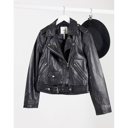 Object – Schwarze Jacke aus Echtleder 40