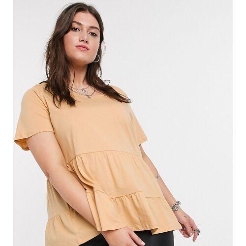 Only Curve – Sandfarbenes T-Shirt im Hänger-Stil-Beige S