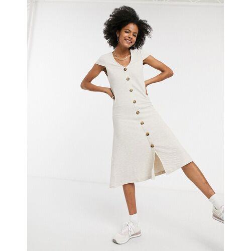 ONLY – Kleid in Beige mit Knopfleiste L