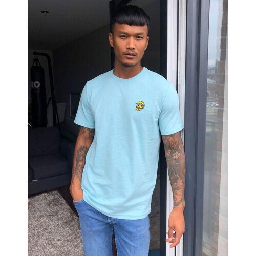Only & Sons – T-Shirt mit Totenkopf-Stickerei in Blau L