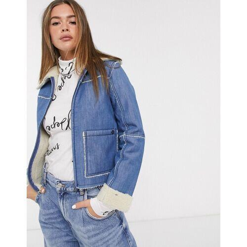 Pepe Jeans – Saffie – Jeansjacke mit Kragen in Lammfelloptik-Blau M