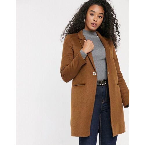 Pimkie – Halblanger, brauner Mantel mit Knopf vorn-Beige M