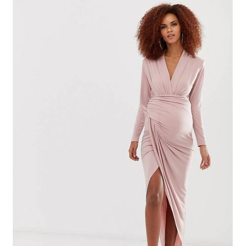 Queen Bee – Umstandsmode – Wickel-Maxikleid in Rosa 44