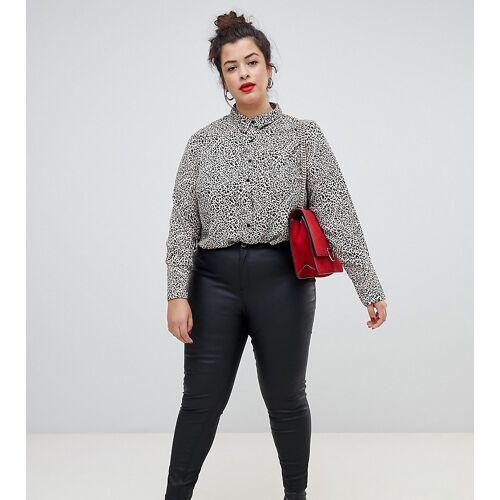 River Island Plus – Molly – Enge Jeans in Schwarz mit Beschichtung 48