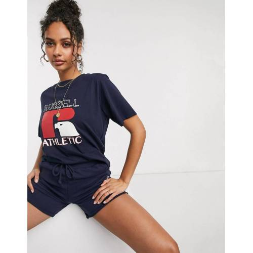 Russell Athletic – T-Shirt in Navy mit Logo XL