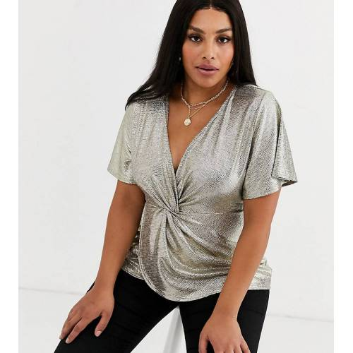 Simply Be – Goldene Bluse mit Knotendesign 60