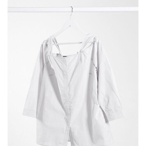 Simply Be – Schulterfreies Hemd in Grau 42