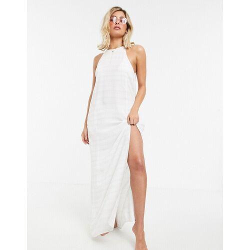 Tavik – Weiß gestreiftes Maxi-Strandkleid L