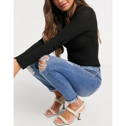 Ted Baker – Kimmle – Blaue Skinny-Jeans in Used-Optik W28