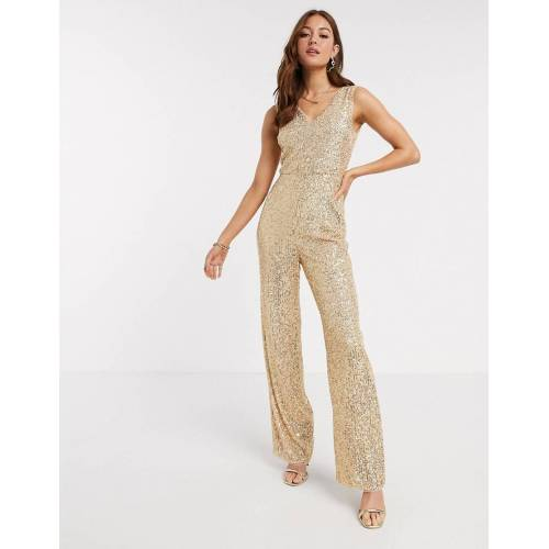 TFNC – Jumpsuit mit Pailletten in Gold 40
