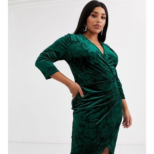 TFNC Plus – Smaragdgrünes Mini-Wickelkleid aus Samt 52