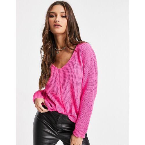 Unique21 – Pullover in leuchtendem Rosa mit V-Ausschnitt 36