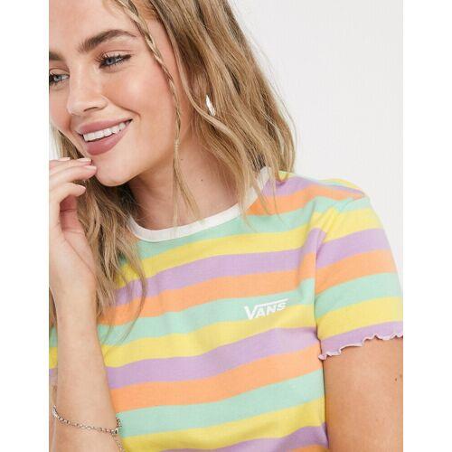 Vans – Rainbow – Pastellfarbenes T-Shirt-Weiß XS