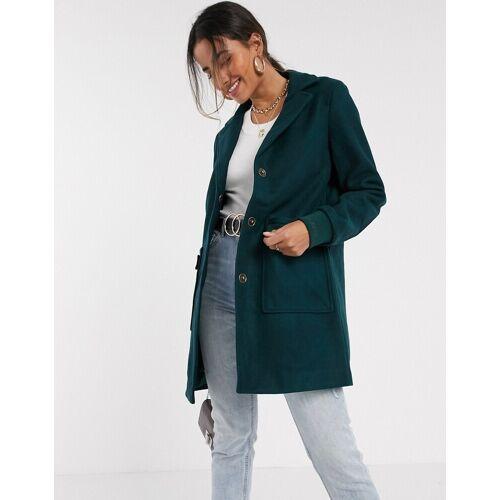Vero Moda – Grüner Mantel mit Taschen M