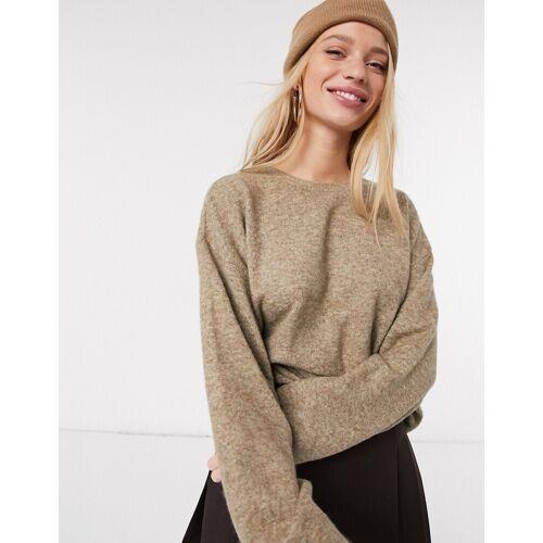 Vero Moda – Kastenförmiger Pullover in Camel-Beige L