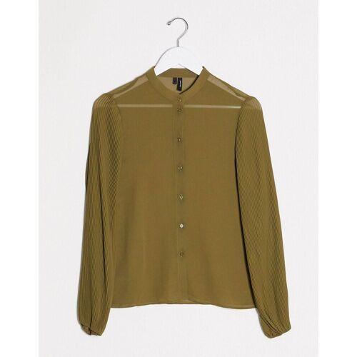 Vero Moda – Kragenloses Hemd in Grün M