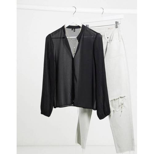 Vero Moda – Kragenloses Hemd in Schwarz L