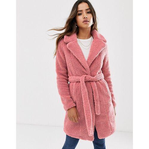 Vero Moda – Mantel aus Fellimitat mit Gürtel-Rosa L