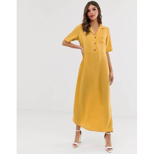 Vero Moda – Minimalistisches Midihemdkleid-Gelb XS