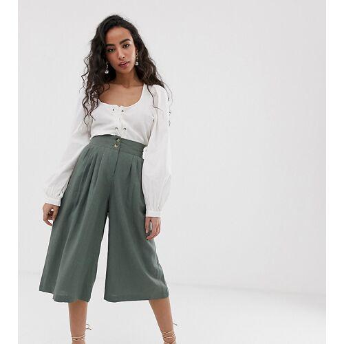 Vero Moda Petite – Hosenrock aus Leinen mit kurzem Schnitt-Grün M