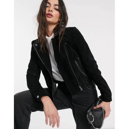 Vero Moda – Schwarze Wildlederjacke L