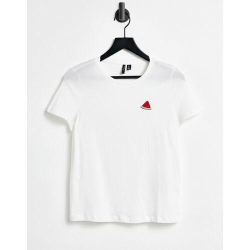 Vero Moda – T-Shirt in Weiß mit Melonen-Logo L