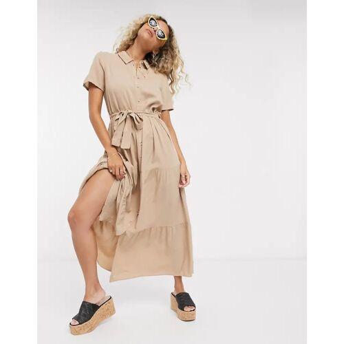 Vero Moda – Wadenlanges Hemdkleid inBraun-Bronze XL