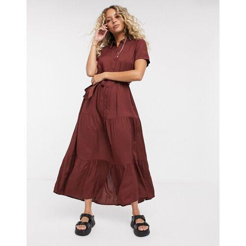 Vero Moda – Wadenlanges Hemdkleid inBraun M