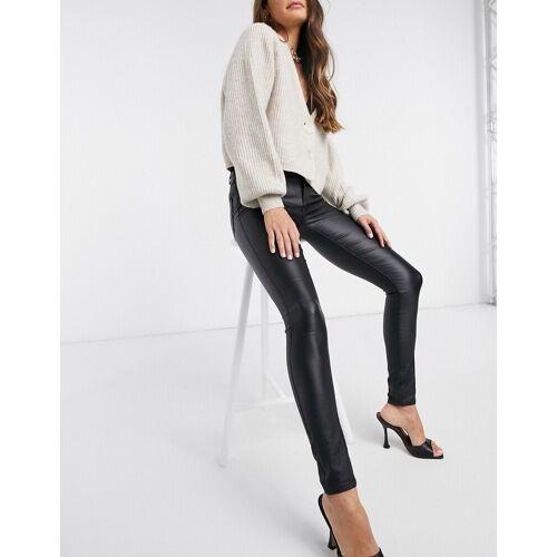 Vila – Beschichtete Jeans in Schwarz S