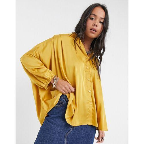 Vila – Gelbes Oversize-Hemd aus Satin 36