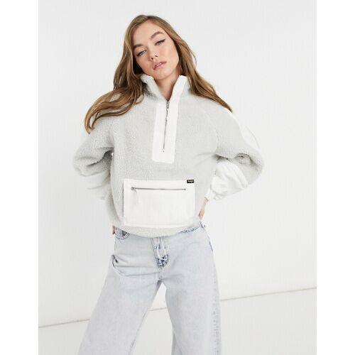 Wrangler – Denim-Sherpa-Pulloverjacke in Weiß L