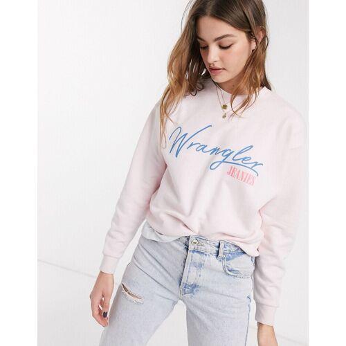 Wrangler – Sweatshirt in Rosa mit Logo M