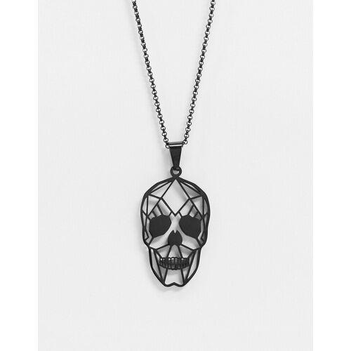 Seven London – Schwarze Halskette mit Totenkopf-Anhänger No Size