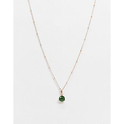 Ted Baker – Calta – Halskette mit Kristallanhänger in Grün und Roségold No Size