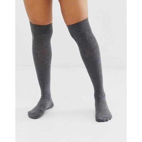 ASOS DESIGN – Overknee-Socken-Grau 37-41