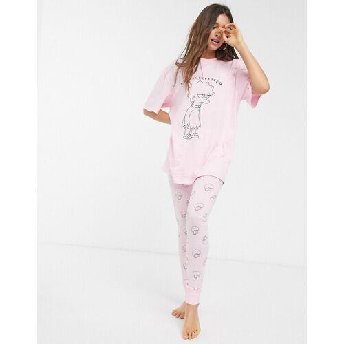 ASOS DESIGN – The Simpsons Lisa – Pyjama-Set mit T-Shirt und Leggings-Rosa 36