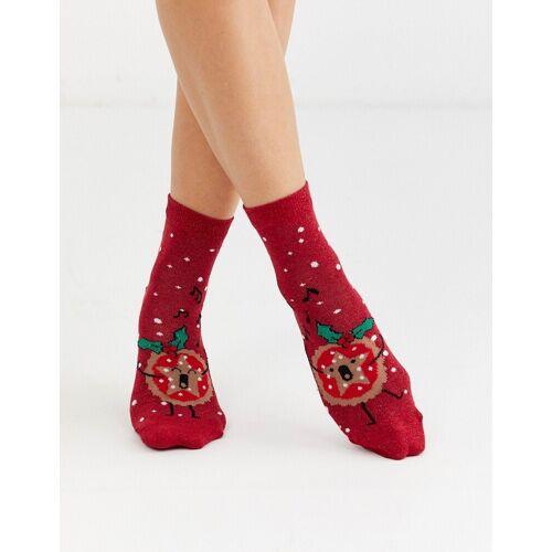 ASOS DESIGN – Weihnachten – Glitzernde Knöchelsocken mit Mince-Pie-Design-Rot 37-41