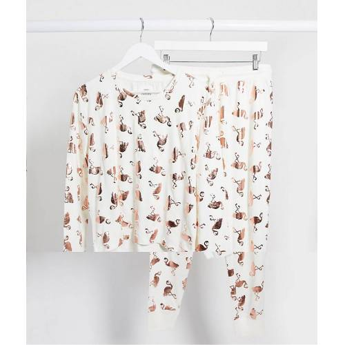 Chelsea Peers – Pyjama mit Flamingofoliendruck in Weiß S