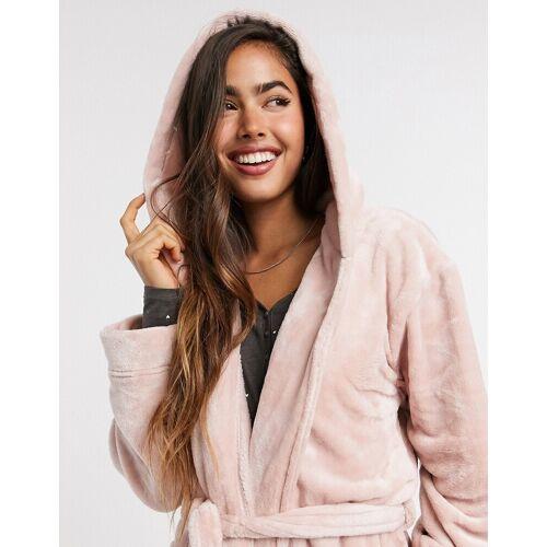 Lindex – Superweicher Bademantel aus Fleece in Rosa L