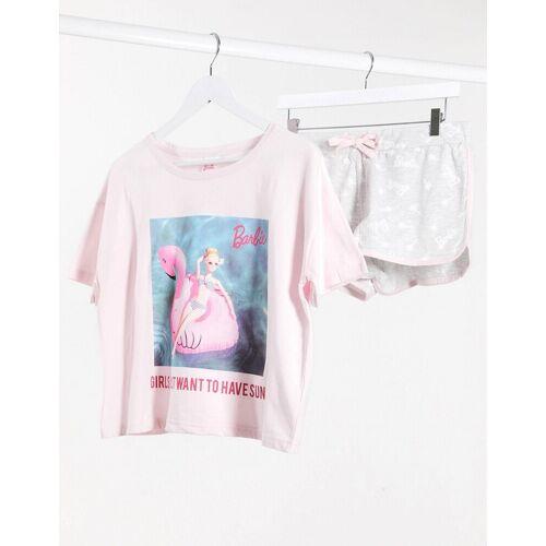 New Look – Barbie – Pyjama in Rosa-Mehrfarbig S