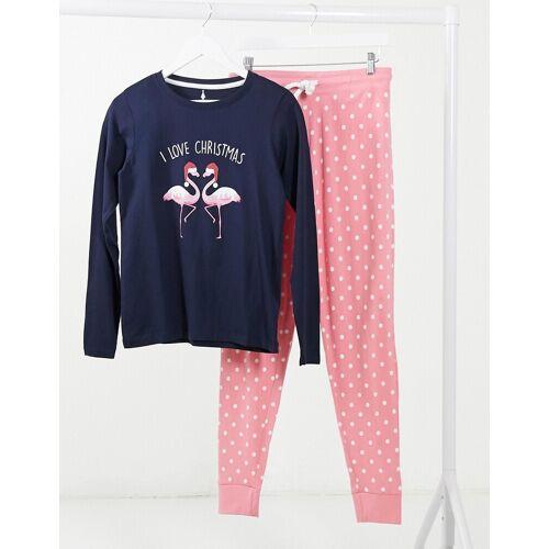 Threadbare – Weihnachtliches Pyjama-Set mit Flamingomotiv in Marineblau und Rosa 36