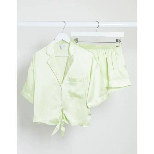 Topshop – Pyjama aus Satin in Apfelgrün M