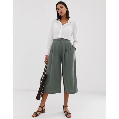 Vero Moda – Kurz geschnittener Hosenrock aus Leinen-Grün L