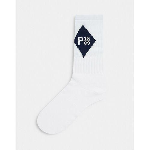 Parlez – Zulu – Socken in Weiß mit marineblauem Logo No Size