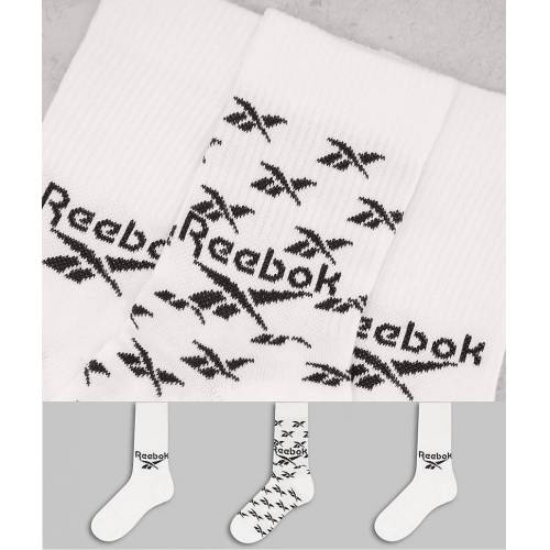 Reebok – Crew-Socken mit Logo in Weiß im 3er-Pack M