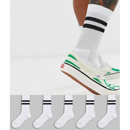 ASOS DESIGN – Sportsocken in Weiß mit schwarzen Streifen im 5er-Pack, Rabatt 37-42