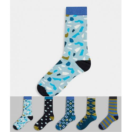 Happy Socks HS by Happy Socks – Blau-bunte Socken im 5er-Pack No Size