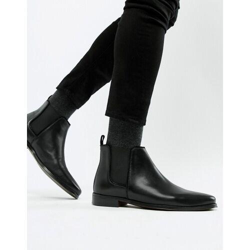 ASOS DESIGN – Chelsea-Stiefel aus schwarzem Leder mit schwarzer Sohle 42