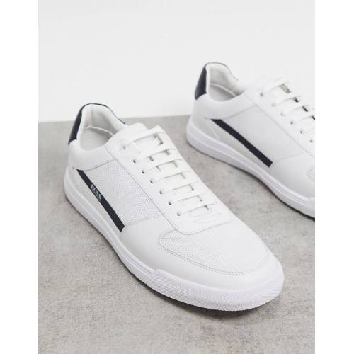BOSS – Cosmopool Tenn – WeißeSneaker mit gummiertem Logo 45